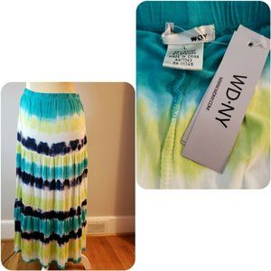 WD.NY Long Tie Dye Maxi Skirt Sz  L hi low